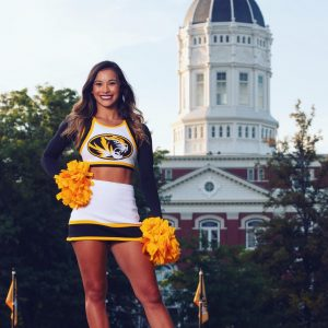 Photo of Micaela Kemerling in front of Jesse Hall